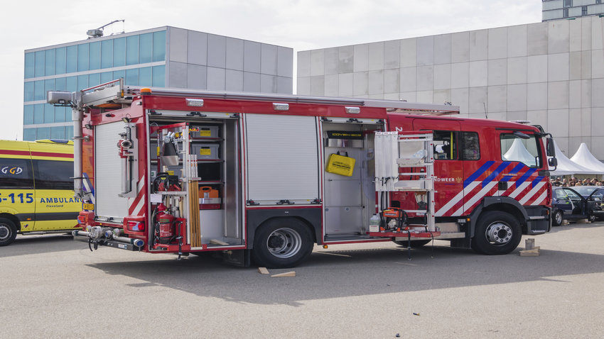 ALMERE, NETHERLANDS - 12 APRIL 2014: Fire engine at scene of an eneacted emergency during the first National Security Day held in the city of Almere